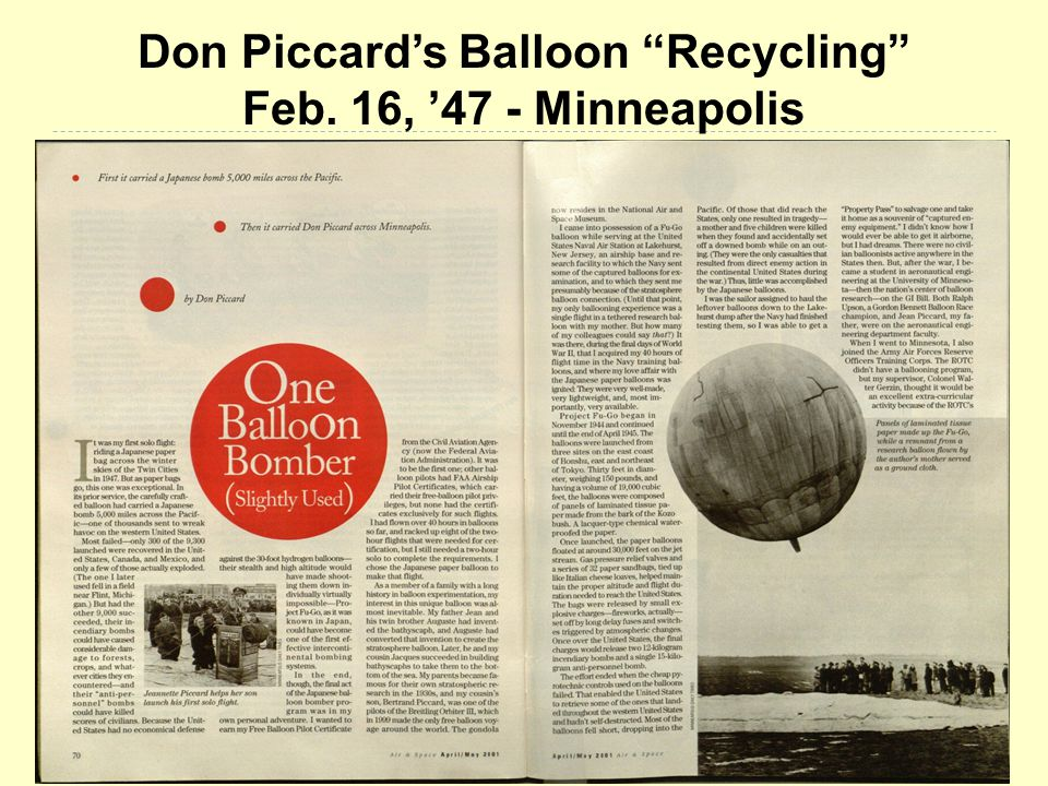 Don Piccard's Balloon Recycling Feb. 16, '47 - Minneapolis