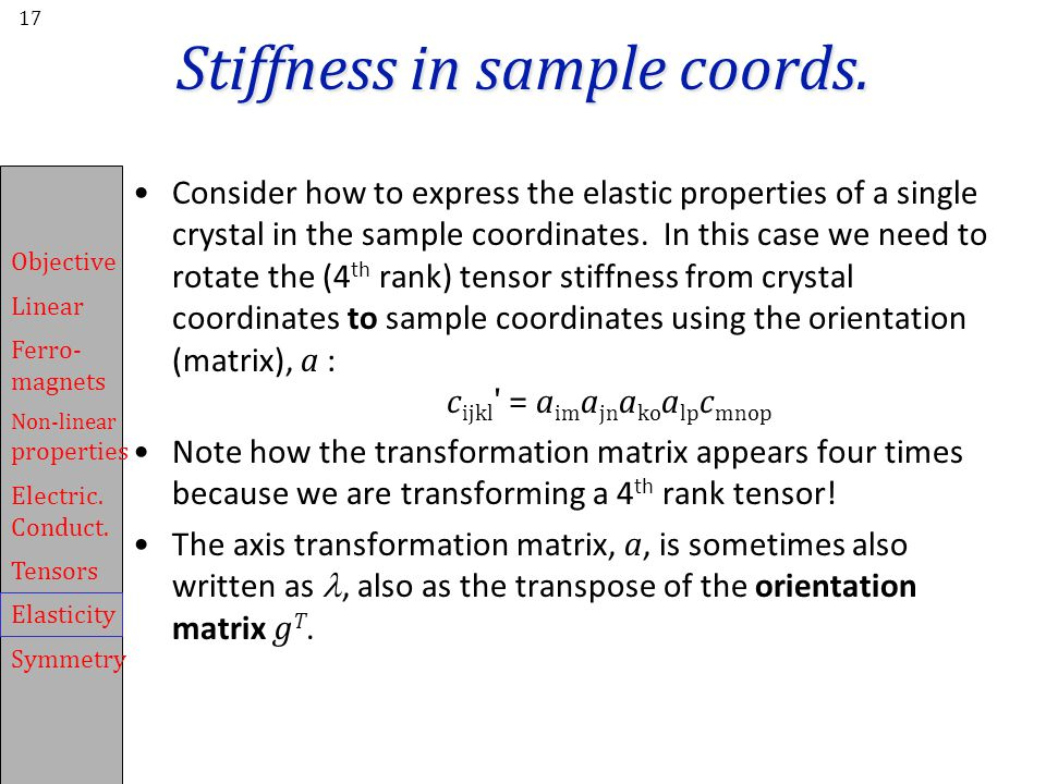 Stiffness in sample coords.