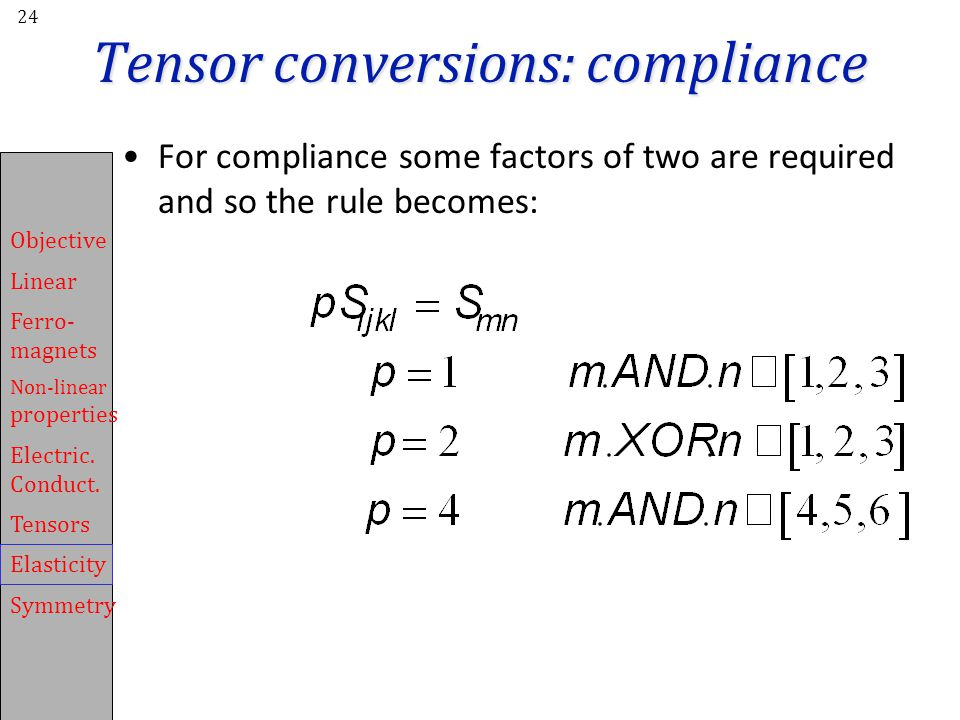 Tensor conversions: compliance