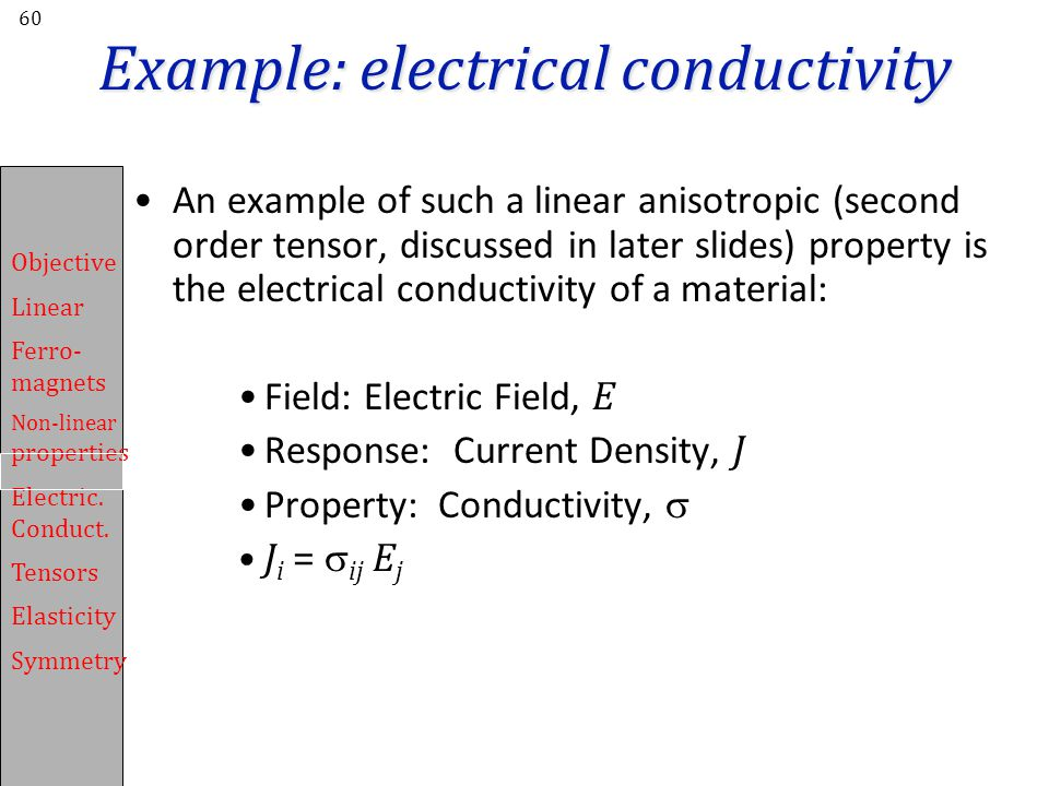 Example: electrical conductivity