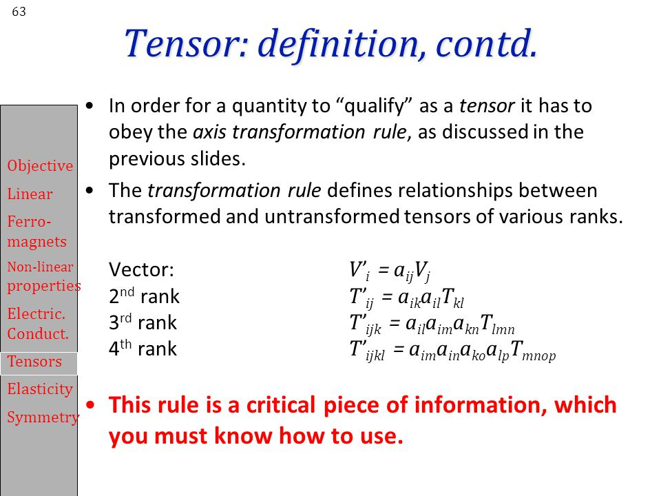 Tensor: definition, contd.