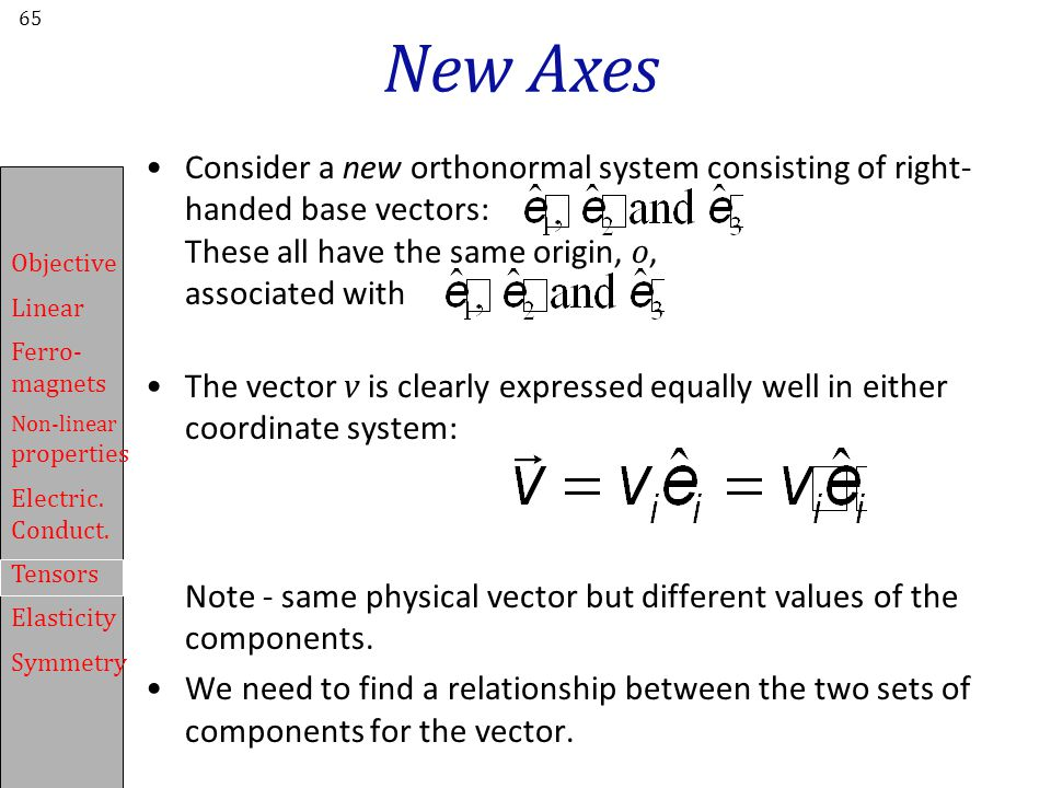 New Axes Consider a new orthonormal system consisting of right-handed base vectors: These all have the same origin, o, associated with.
