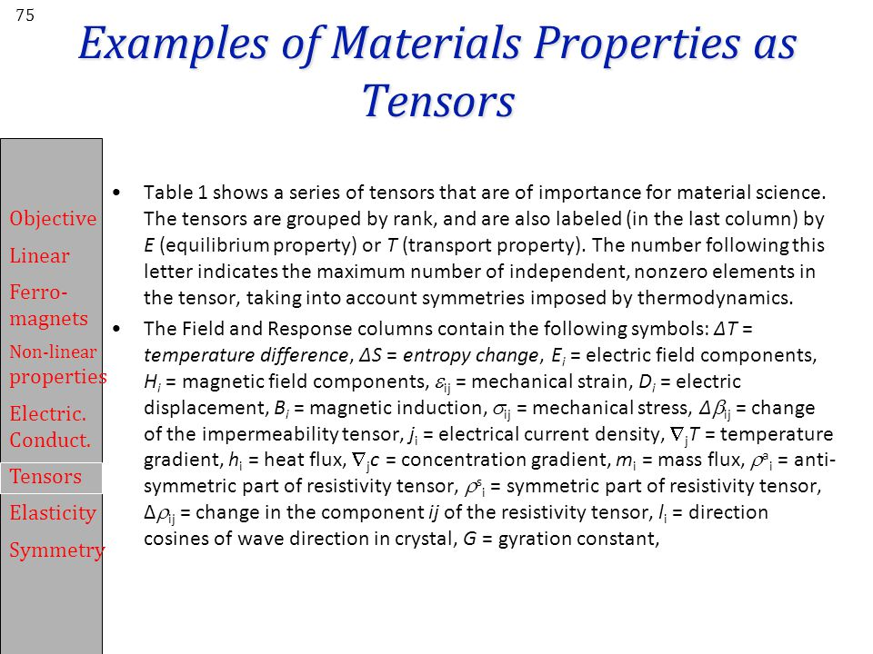 Examples of Materials Properties as Tensors