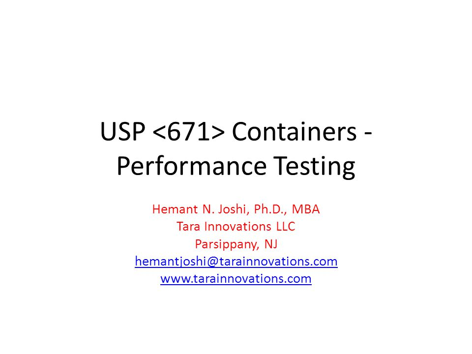 USP <671> Containers -Performance Testing