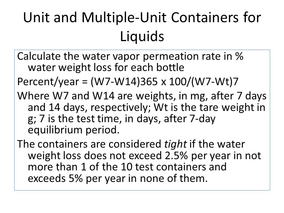 Unit and Multiple-Unit Containers for Liquids