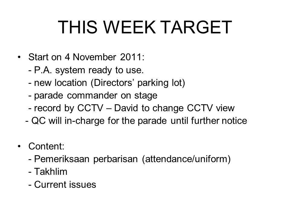 THIS WEEK TARGET Start on 4 November 2011: - P.A. system ready to use.