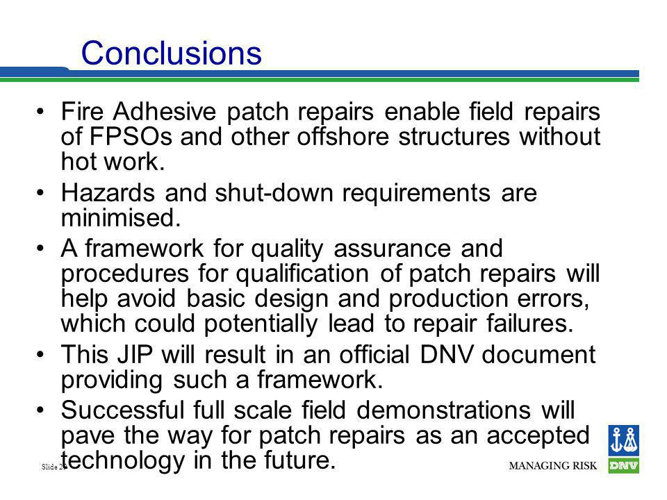 Conclusions Fire Adhesive patch repairs enable field repairs of FPSOs and other offshore structures without hot work.