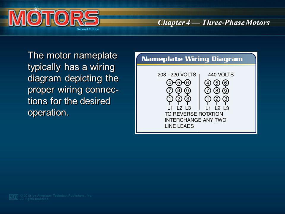 The motor nameplate typically has a wiring diagram depicting the proper wiring connec-tions for