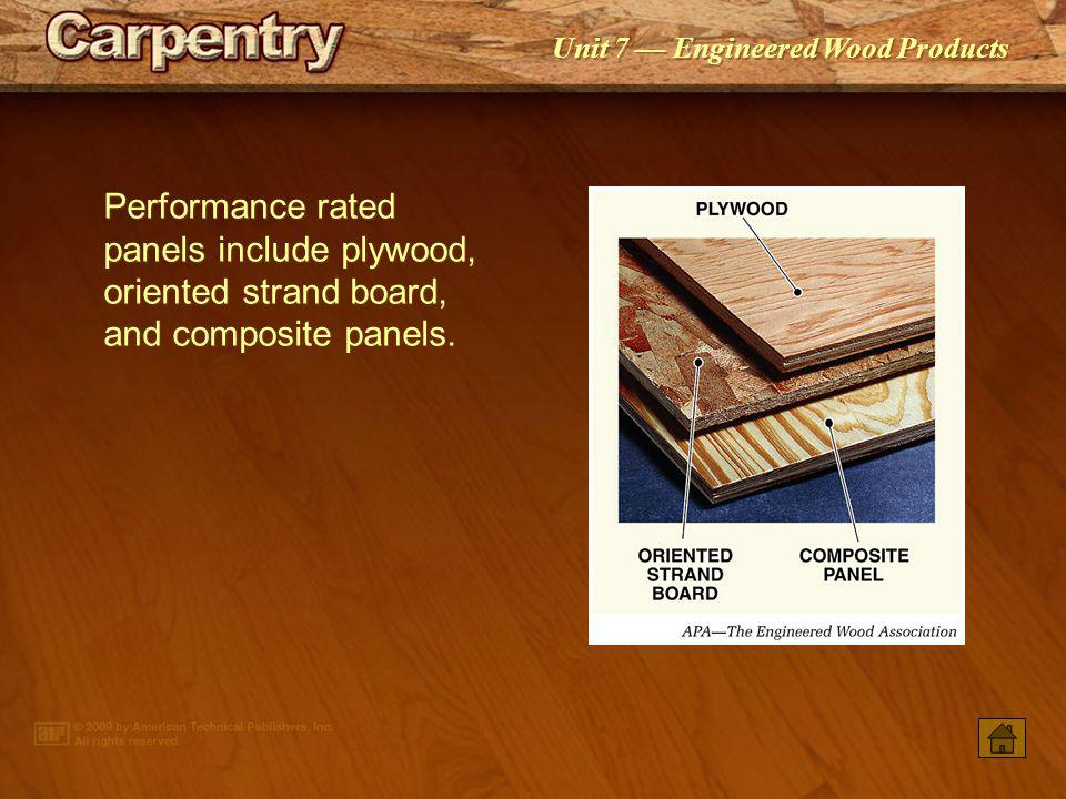 Performance rated panels include plywood, oriented strand board, and composite panels.