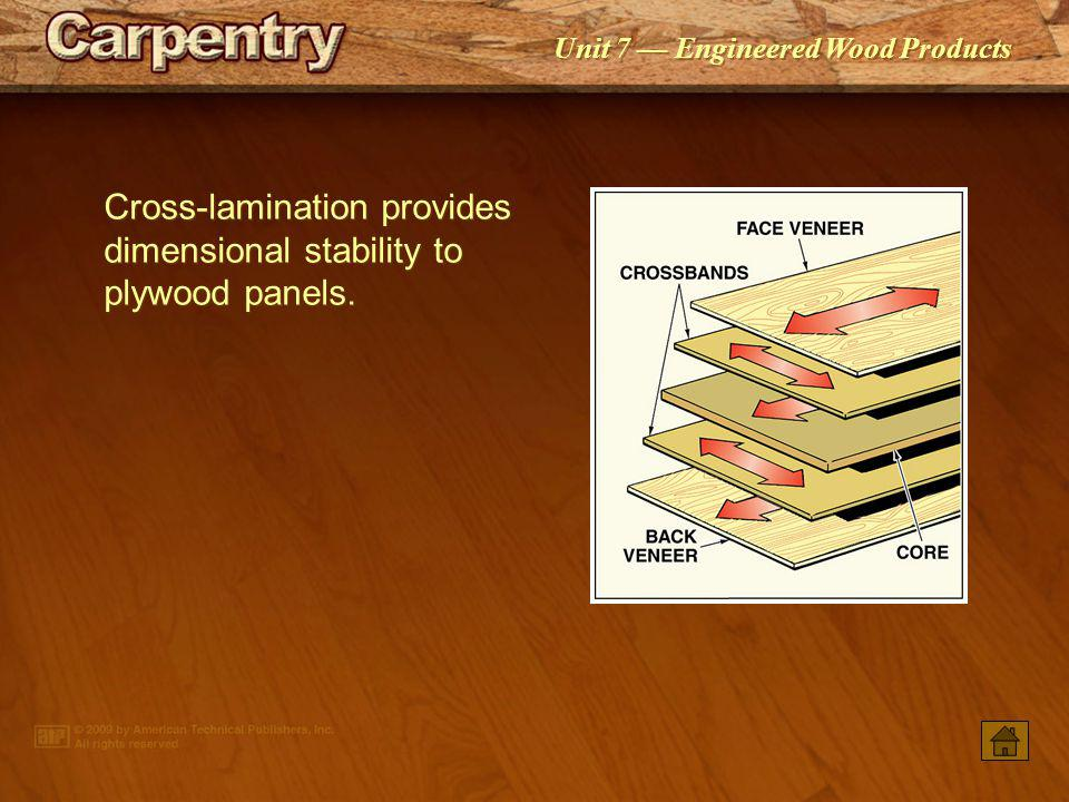 Cross-lamination provides dimensional stability to plywood panels.