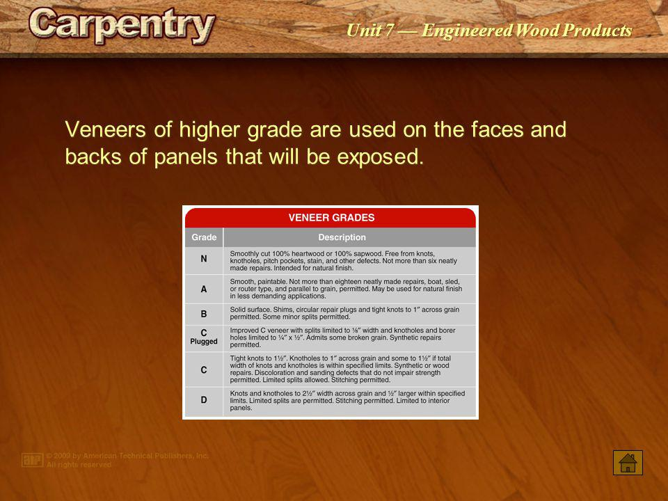 Veneers of higher grade are used on the faces and backs of panels that will be exposed.