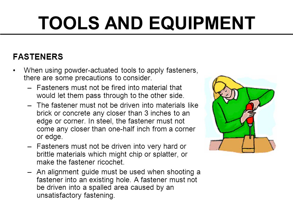 TOOLS AND EQUIPMENT FASTENERS