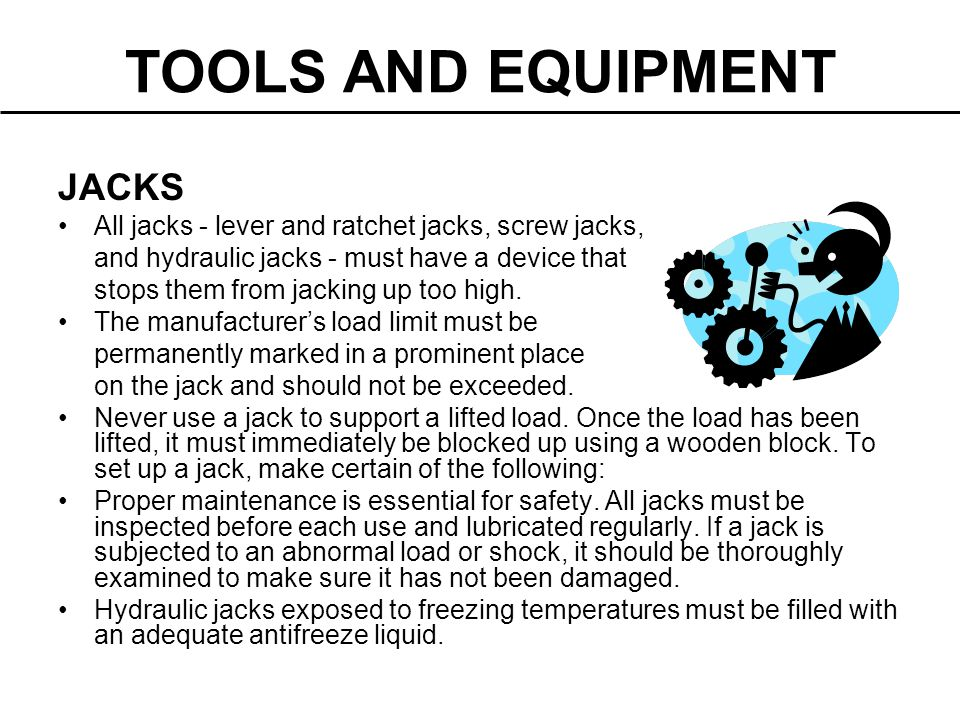 TOOLS AND EQUIPMENT JACKS