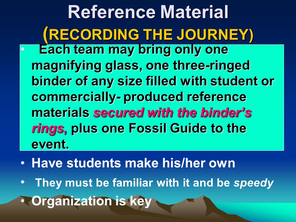 Reference Material (RECORDING THE JOURNEY)