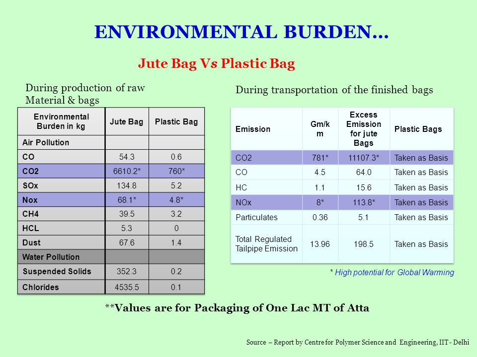Environmental Burden in kg Excess Emission for jute Bags