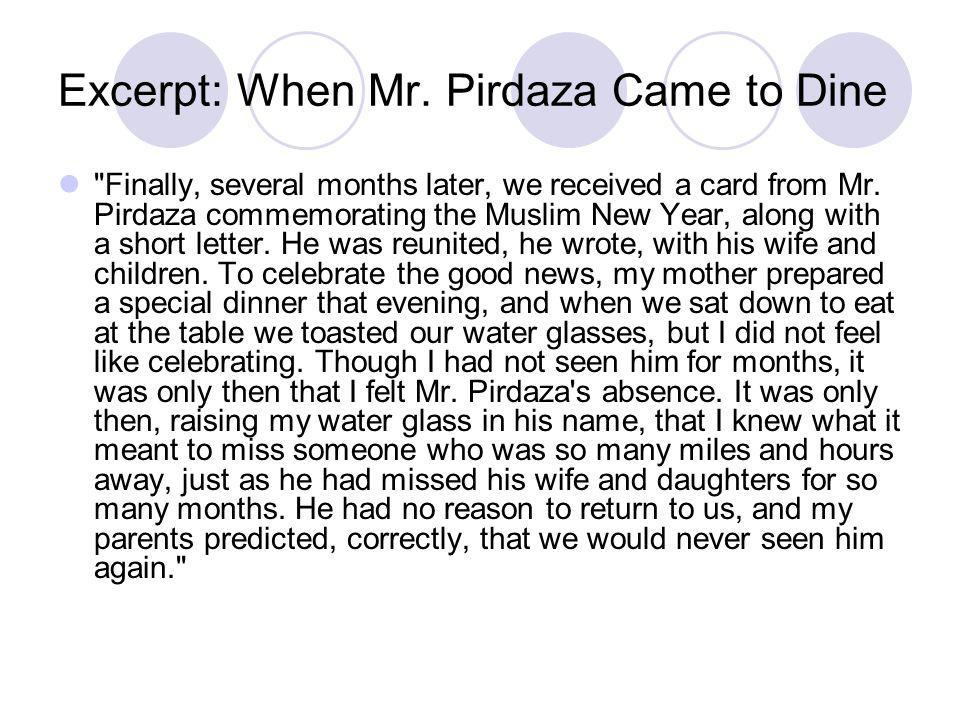Excerpt: When Mr. Pirdaza Came to Dine