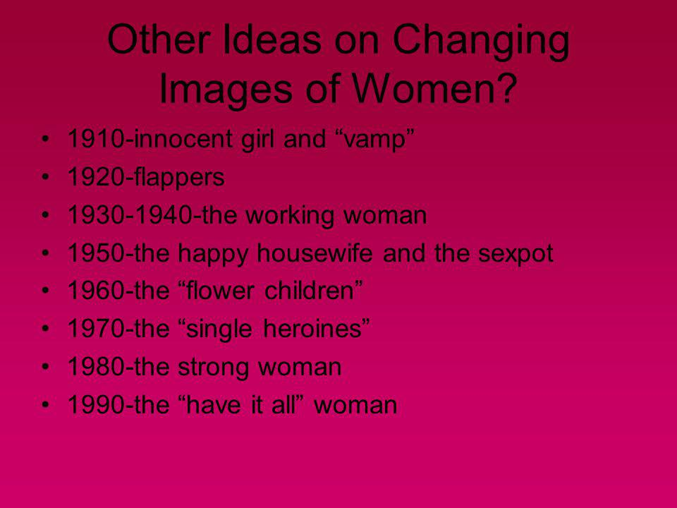 Other Ideas on Changing Images of Women