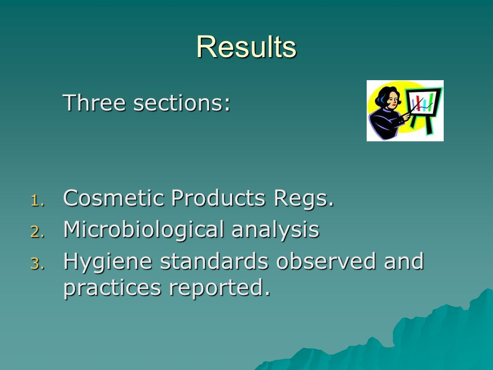 Results Three sections: Cosmetic Products Regs.