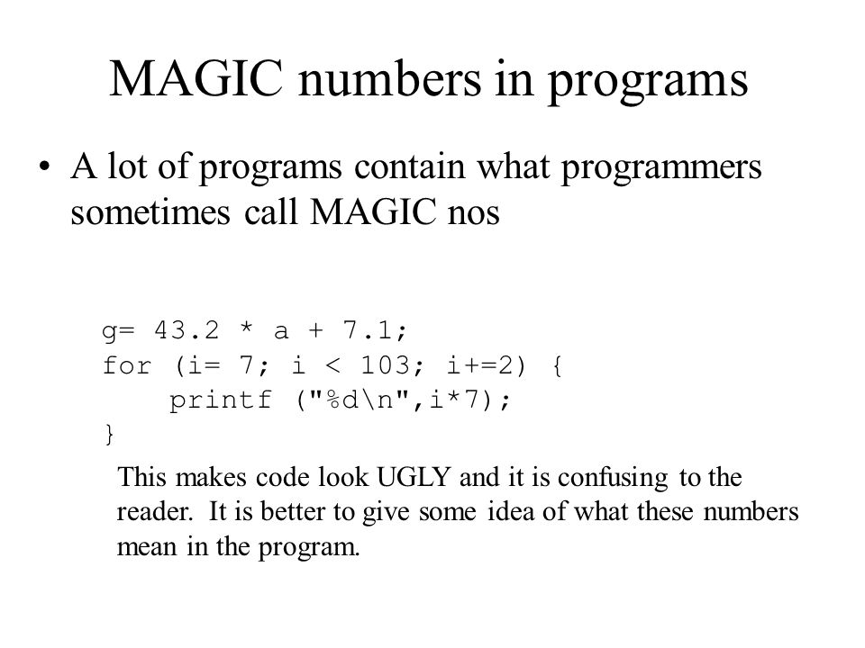 MAGIC numbers in programs