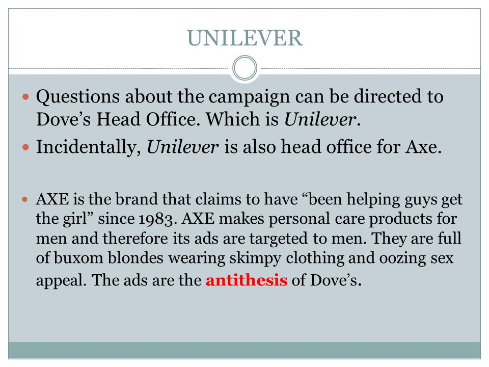 UNILEVER Questions about the campaign can be directed to Dove's Head Office. Which is Unilever. Incidentally, Unilever is also head office for Axe.
