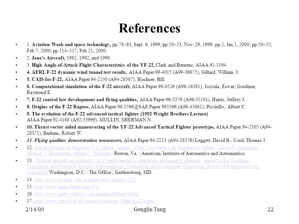 References 2/14/00 Genglin Tang