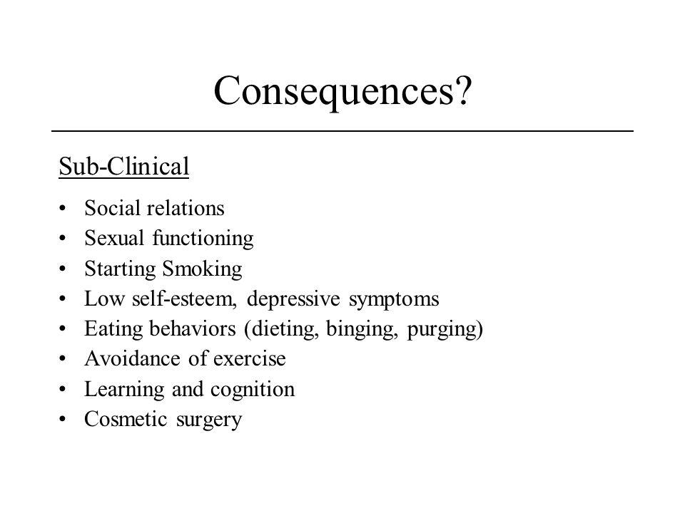 Consequences Sub-Clinical Social relations Sexual functioning