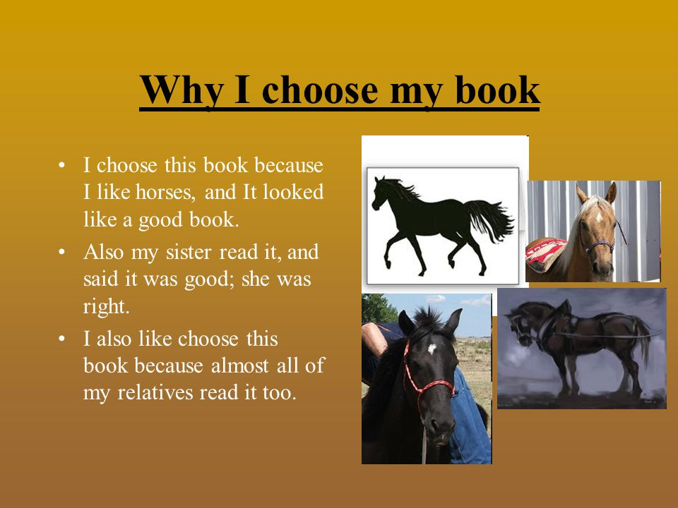Why I choose my book I choose this book because I like horses, and It looked like a good book.