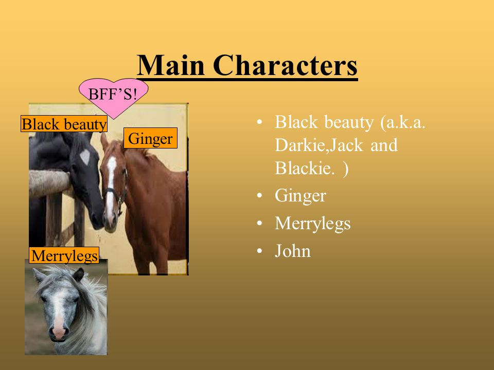 Main Characters Black beauty (a.k.a. Darkie,Jack and Blackie. ) Ginger