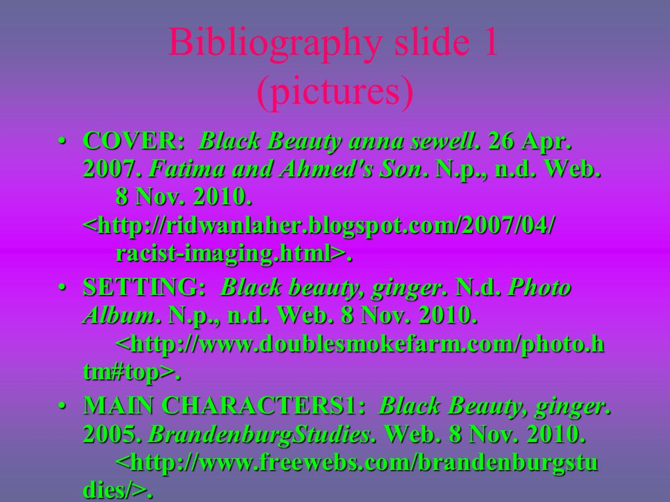 Bibliography slide 1 (pictures)