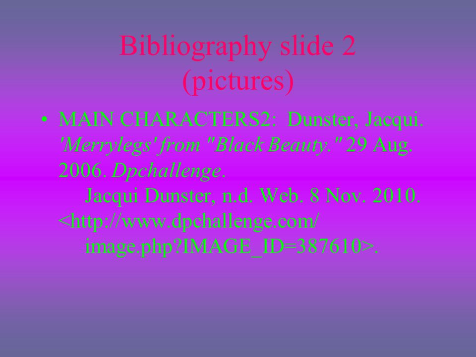 Bibliography slide 2 (pictures)