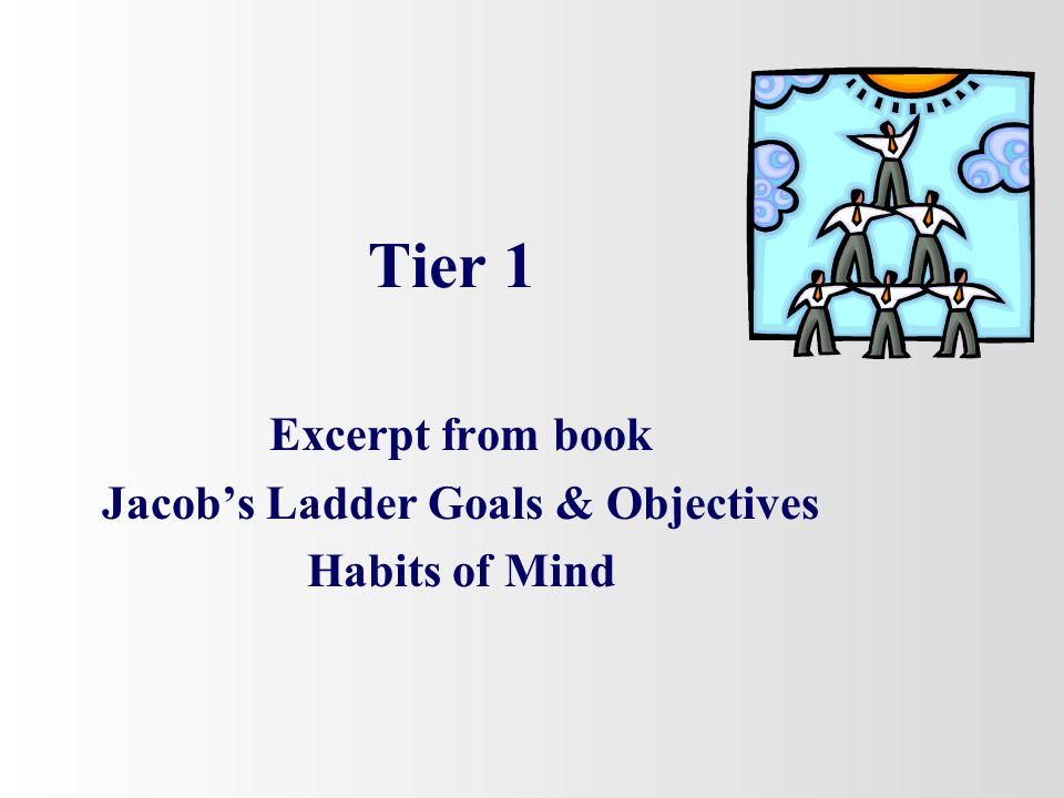 Excerpt from book Jacob's Ladder Goals & Objectives Habits of Mind