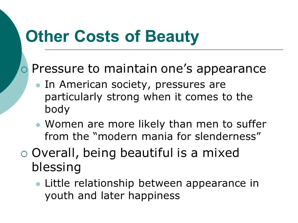 Other Costs of Beauty Pressure to maintain one's appearance