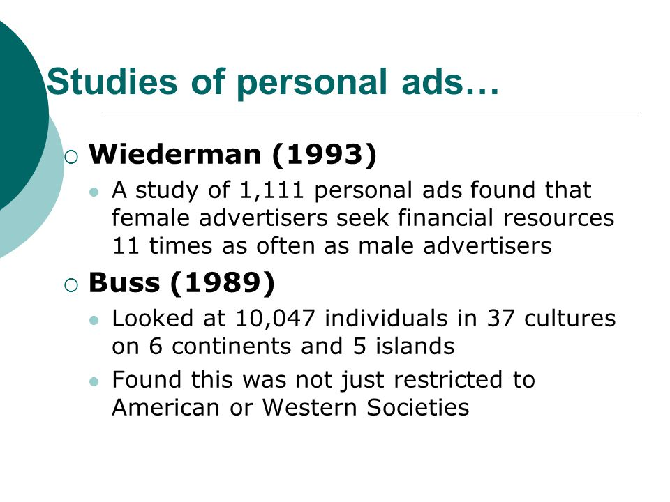 Studies of personal ads…