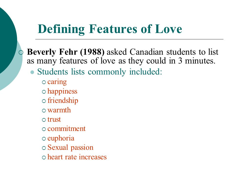Defining Features of Love
