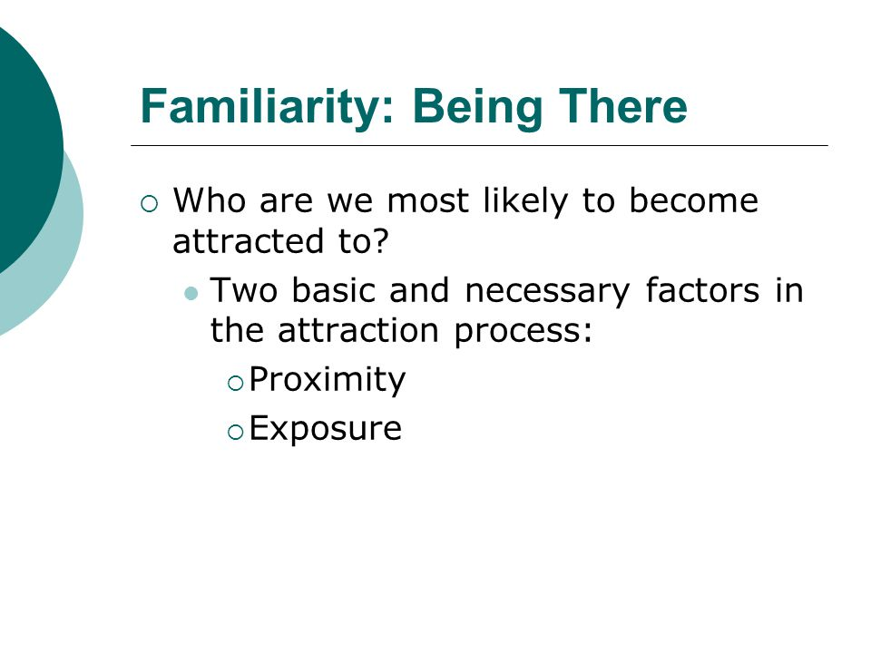 Familiarity: Being There