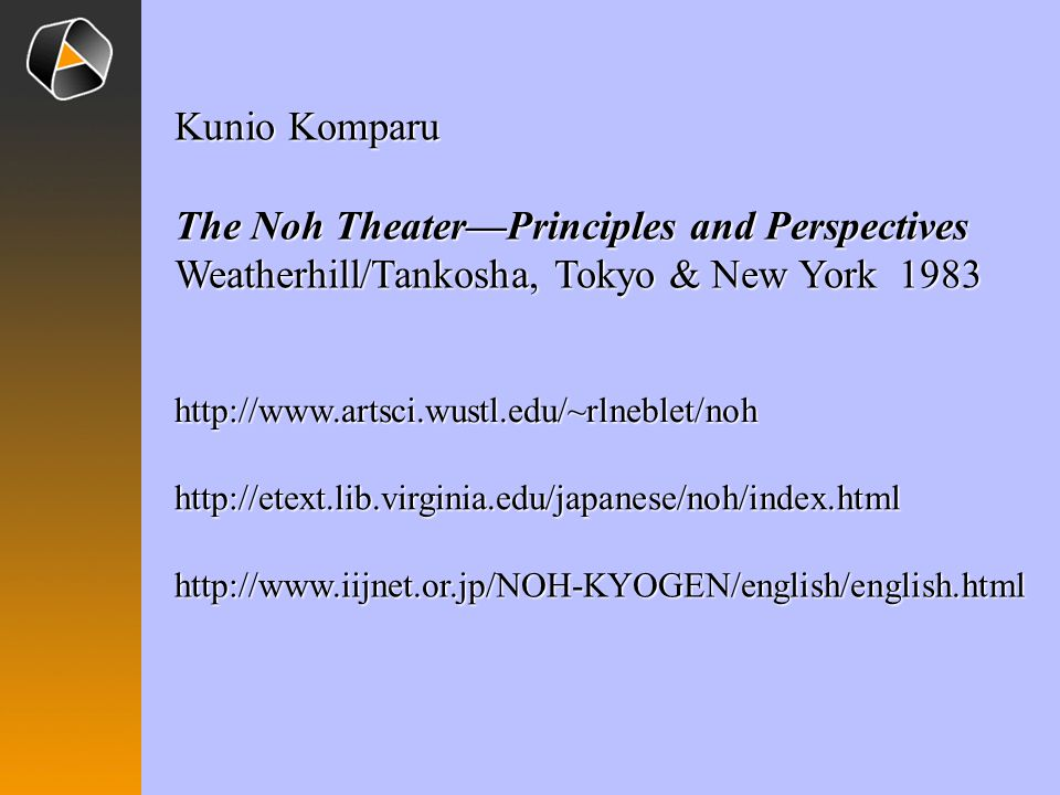 The Noh Theater—Principles and Perspectives