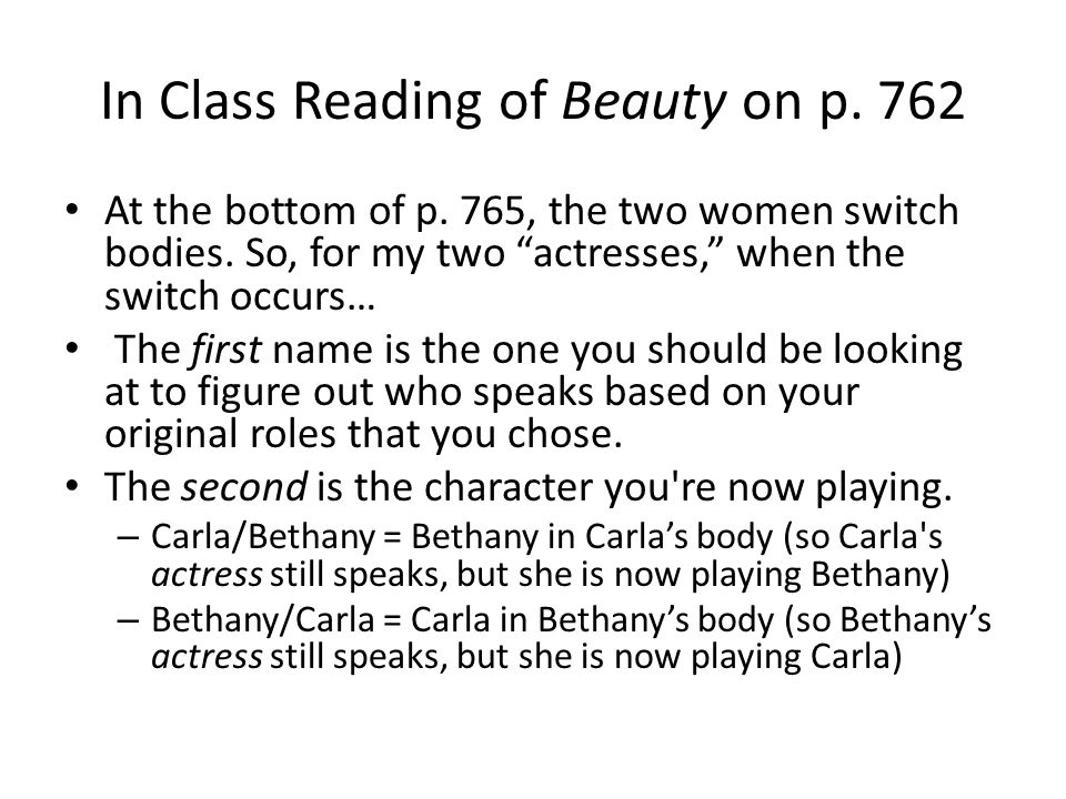 In Class Reading of Beauty on p. 762