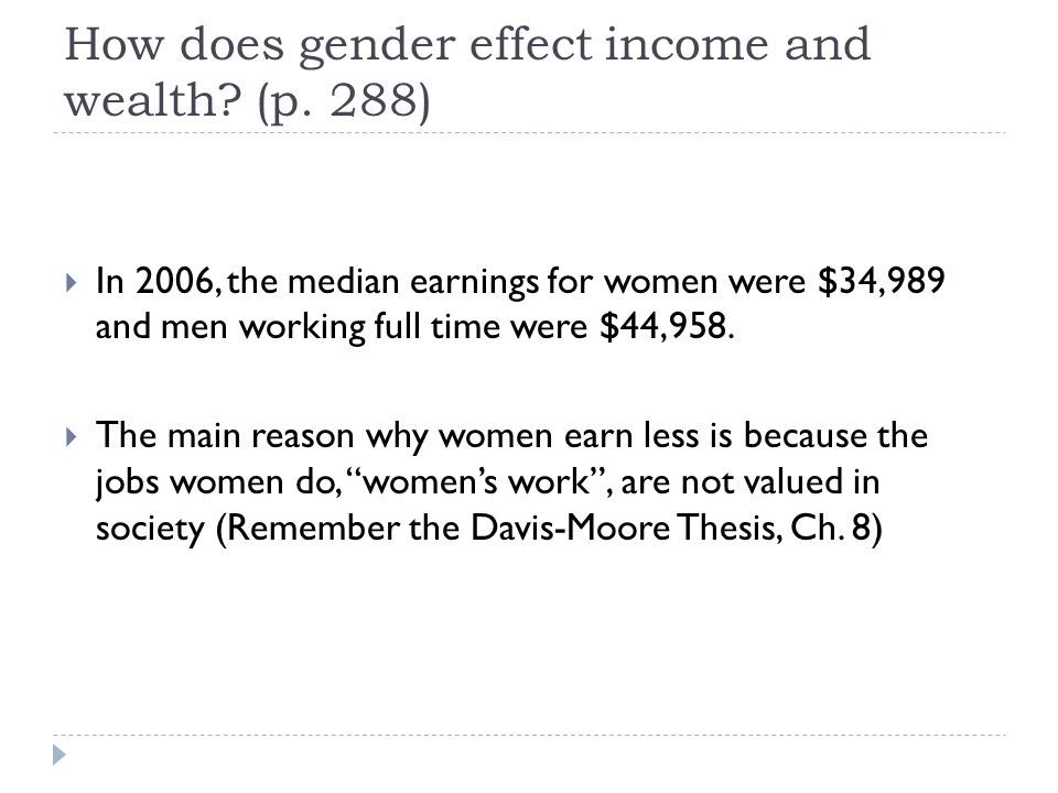How does gender effect income and wealth (p. 288)