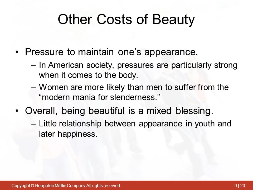 Other Costs of Beauty Pressure to maintain one's appearance.