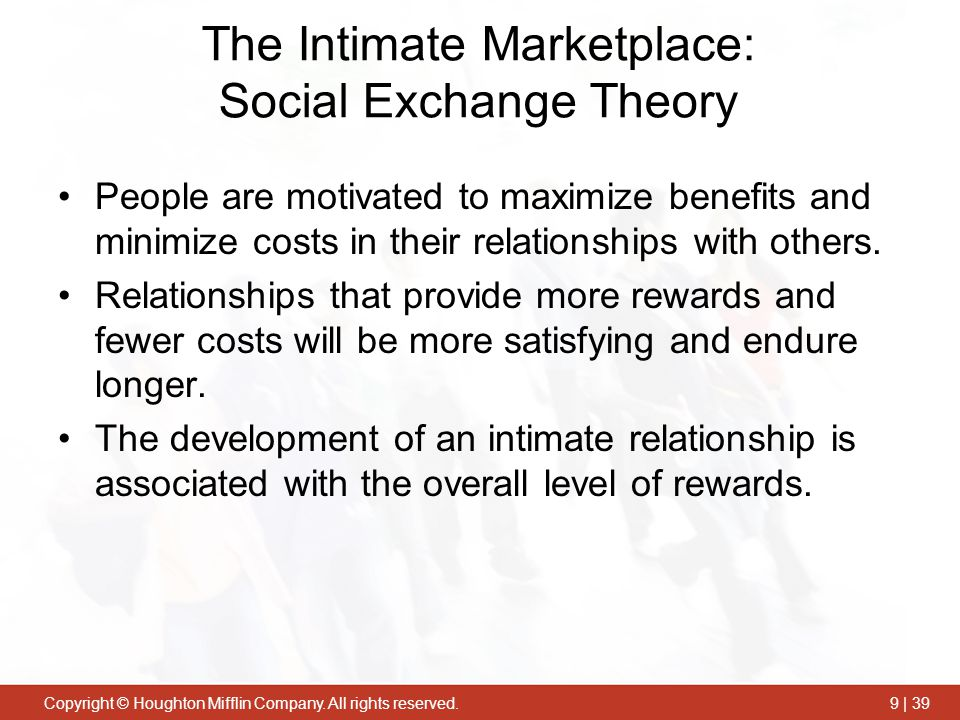 The Intimate Marketplace: Social Exchange Theory
