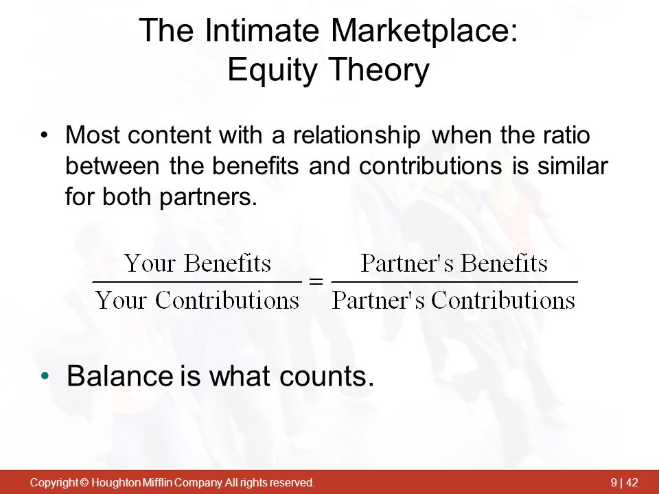 The Intimate Marketplace: Equity Theory