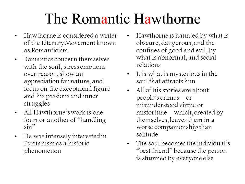 The Romantic Hawthorne