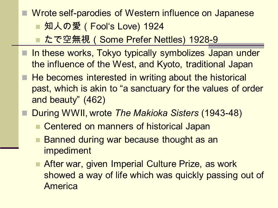Wrote self-parodies of Western influence on Japanese