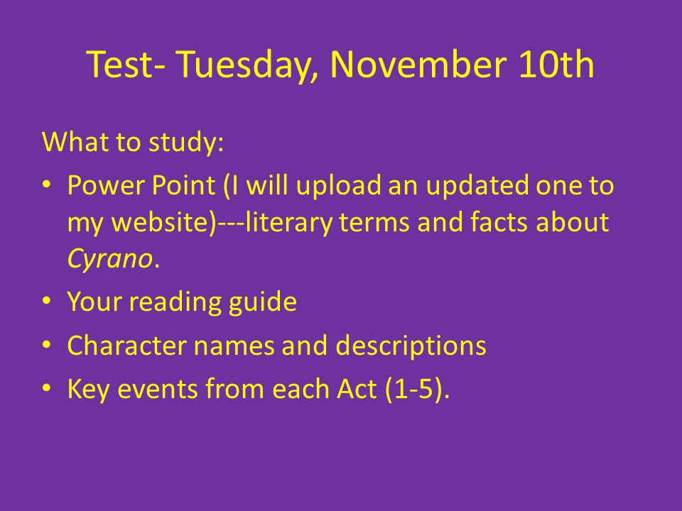 Test- Tuesday, November 10th