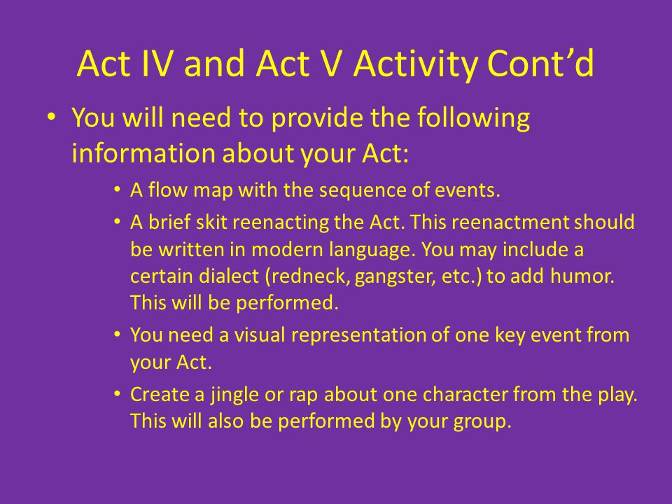 Act IV and Act V Activity Cont'd