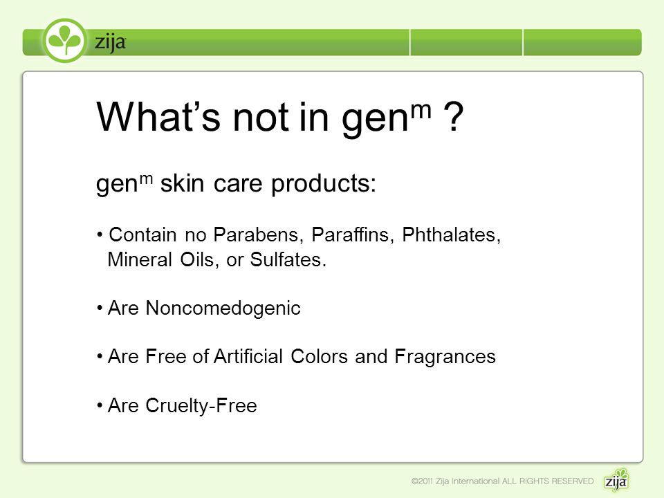 What's not in genm genm skin care products: