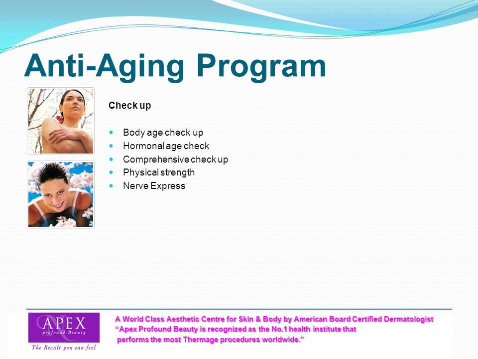 Anti-Aging Program Check up Body age check up Hormonal age check