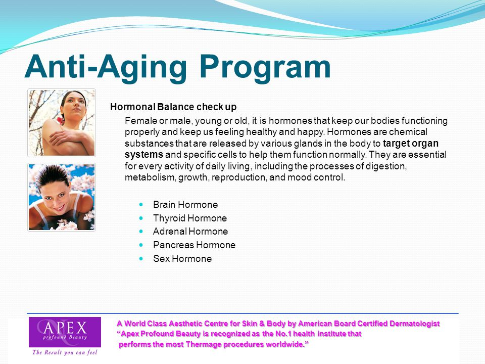 Anti-Aging Program Hormonal Balance check up