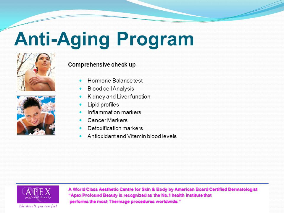 Anti-Aging Program Comprehensive check up Hormone Balance test