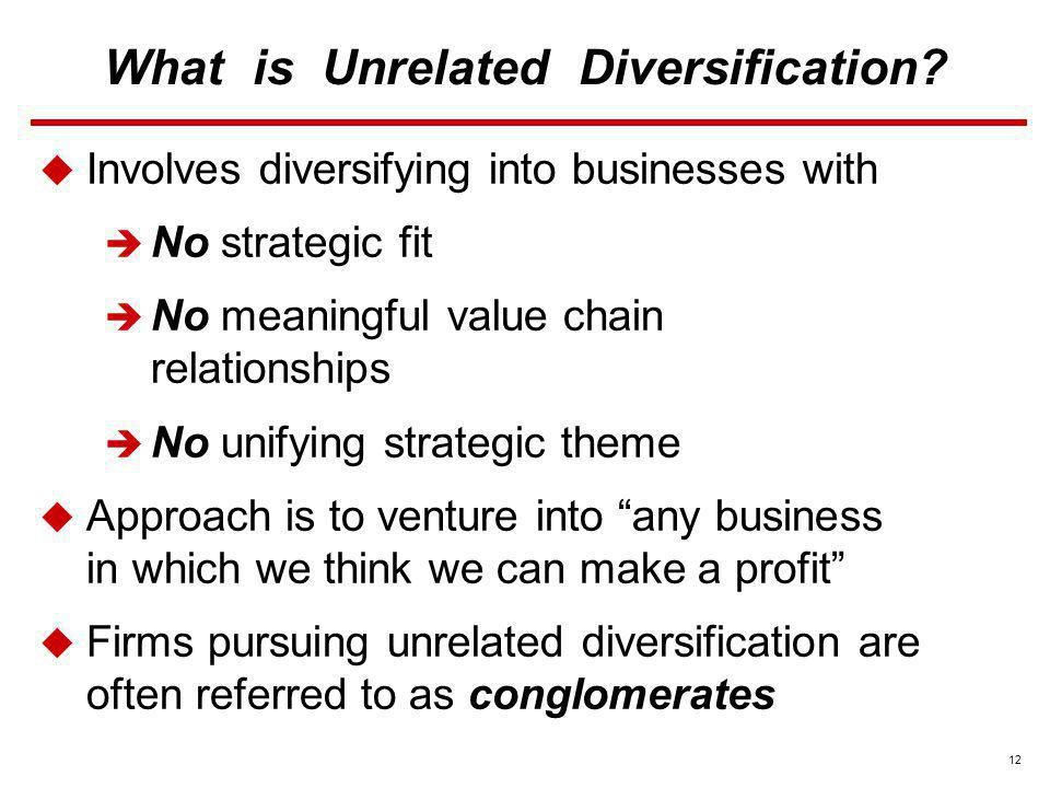 What is Unrelated Diversification